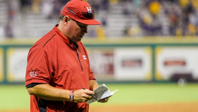 UL coach Tony Robichaux, who has plenty of pitching options this year, walks off of the field following a 4-3 loss to LSU in a 2015 NCAA Super Regional game at Alex Box Stadium in Baton Rouge.