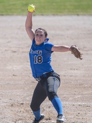 In this 2016 photo, former Kellogg Community College pitcher Makayla Craun delivers home against Lake Michigan College at Bailey Park.
