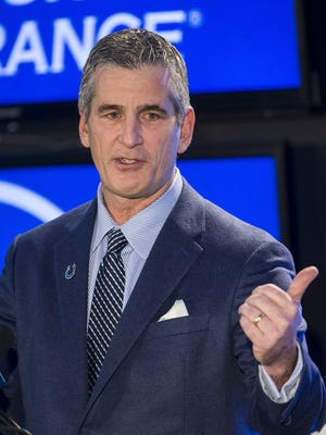 Frank Reich speaks during a press conference introducing him as the new head coach of the Indianapolis Colts, at Lucas Oil Stadium in Indianapolis, Tuesday, Feb. 13, 2018.