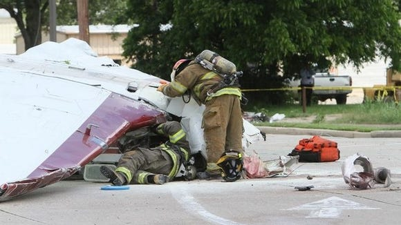 A Beechcraft Bonanza airplane crashed into the McDonald's parking lot in the 8000 block of DeSiard Street on Tuesday. The pilot, the only person on board, suffered moderate injuries and was airlifted to a hospital.