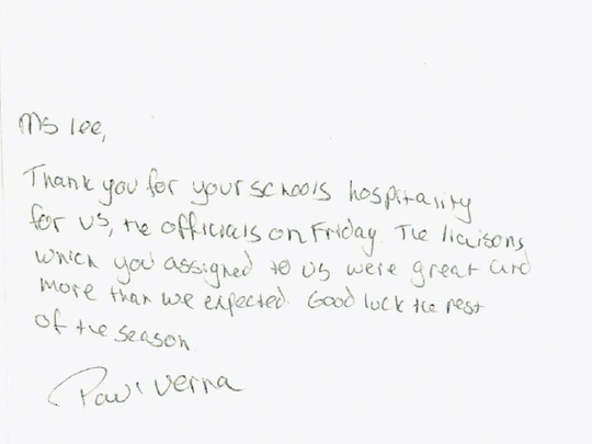 A referee wrote a handwritten thank you note to Westview