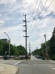 The transmission lines run up Cherry Street, ultimately