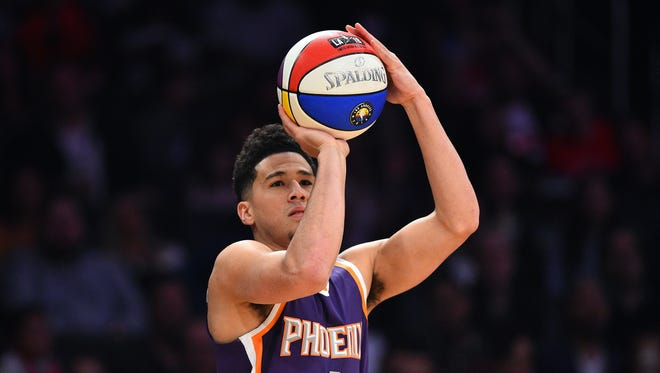 Devin Booker won the NBA's 3-point shooting contest at the All-Star break; unfortunately for the Suns, he doesn't get to take the ABA-style ball with him.