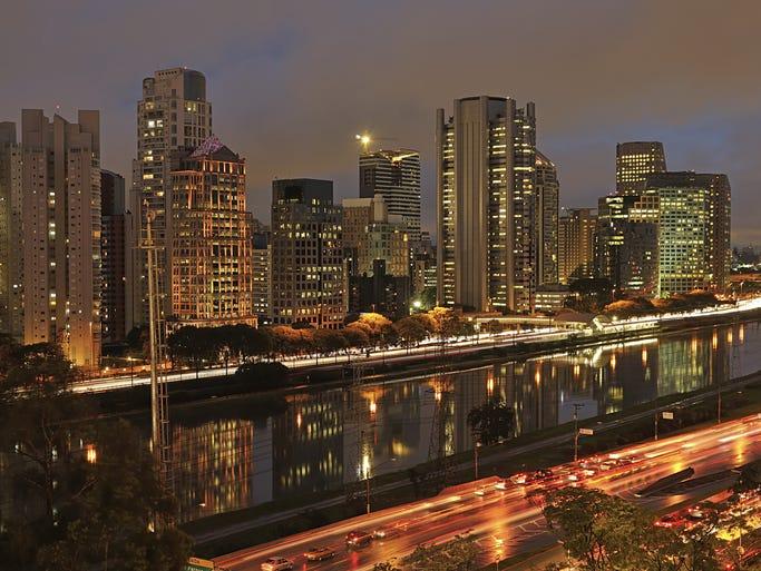 São Paulo City stays busy at night.