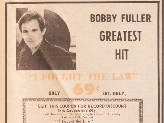 "The January 1967 edition of KELPaper included a coupon for the Bobby Fuller Four's hit single ""I Fought The Law,"" good at the Melody Shop at Bassett Center, where Bobby had once worked."