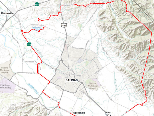 The red lines on this map show the quarantine area in and around Salinas imposed by the California Department of Agriculture at the request of the Monterey County Agricultural Commissioner's Office after two Asian citrus psyllids were found in the city.