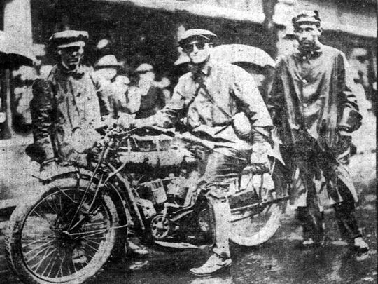 Baker, on his 1914 coast-to-coast run, stopped in Indianapolis May 12.