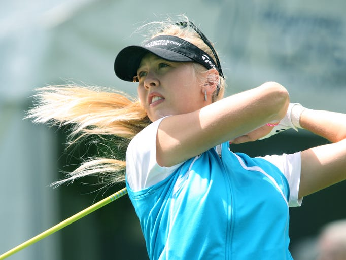Jessica Korda tees off 10 during the Wegmans LPGA Championship at the Monroe Golf Club in Pittsford, N.Y. on Thursday, August 14 2014.