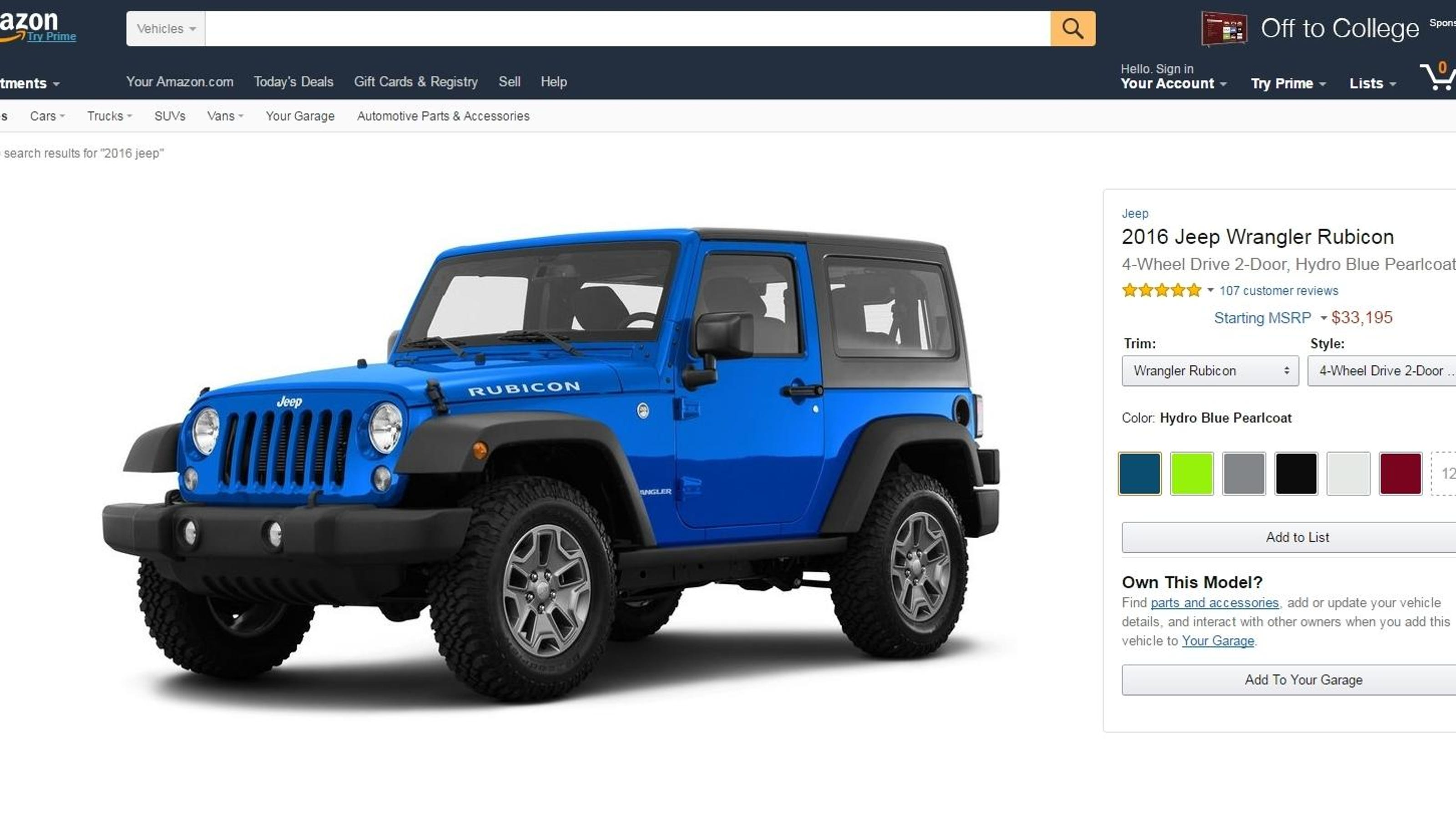 Amazon takes a step toward possible online car sales