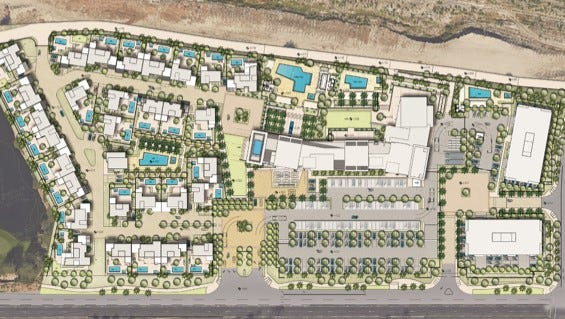 An aerial view of TMC Group's proposed development in Indian Wells.