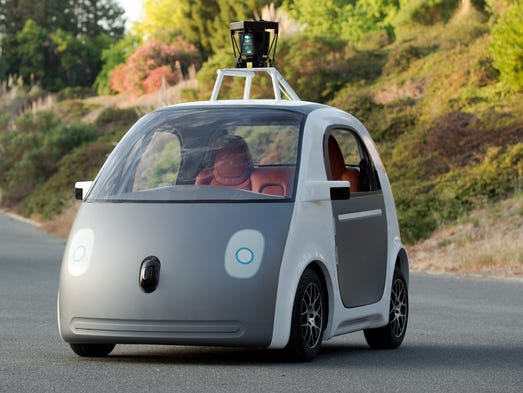 This image provided by Google shows a very early version of Google's prototype self-driving car.