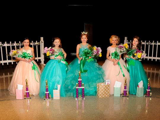 The 7-8-year-old winners are, from left, Chloe Largent, third runner-up and Miss Congeniality and People's Choice winner; Isabella Holcomb, first runner-up; Samantha Powell, Young Miss and Most Photogenic winner; Presleigh Albright, second runner-up; and Addie Webb, fourth runner-up. Other winners not pictured are Kendra Myers, Prettiest Dress; Paislie Clark, Most Natural; Marianna Brown, Prettiest Hair; Abbigail Traylor, Prettiest Smile; and Kinsley Black, Best Poise.