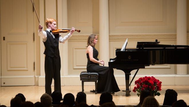 Spencer Sharp at Carnegie Hall last year, performing with his mother, Lynette Sharp.