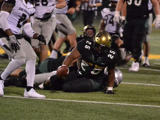 Wayne State's Romello Brown reaches for a first down