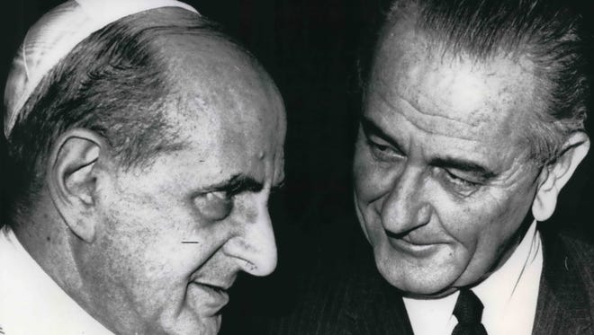 Pope Paul VI and United States President Lyndon Johnson meet at the Vatican on Dec. 23, 1967.