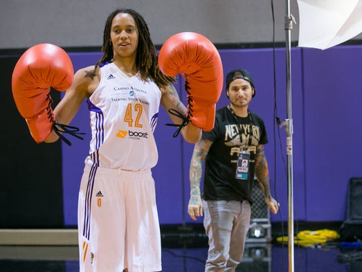 Brittney Griner goofs around at Phoenix Mercury media day at the practice court inside US Airways Center in Phoenix on Tuesday, May 13, 2014.