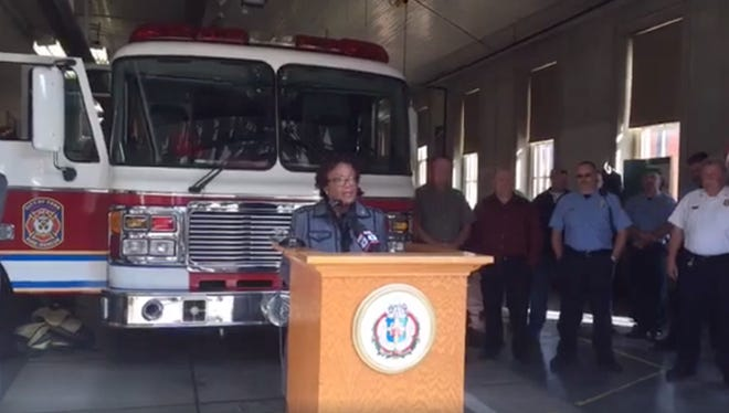 York Mayor Kim Bracey speaks at a news conference Tuesday at Rex/Laurel Fire Station 1, at which she announced a new five-year contract between the city and the union representing city firefighters.