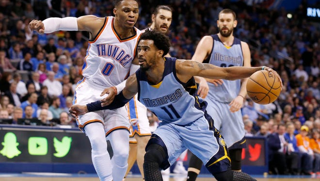 Memphis Grizzlies guard Mike Conley drives around Oklahoma City Thunder guard Russell Westbrook during the second quarter in Oklahoma City on Wednesday. Sue Ogrocki/Associated Press