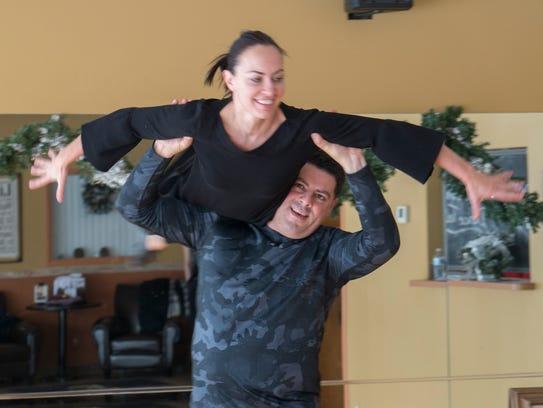 Gabe Zawaideh and instructor Yuliya Lukina make it