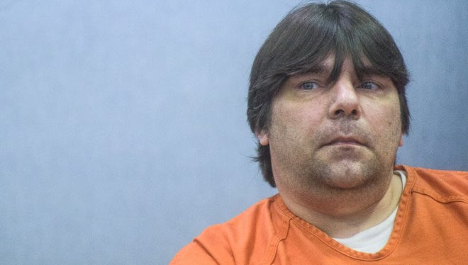 Matthew Jones sits in court on Tuesday, July 21, 2015 in White Cloud, Mich.