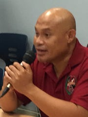 Dexter Fullo, principal of the officially renamed J.P. Torres Success Academy, addresses the Guam Education Board meeting Tuesday Aug. 22, 2017.
