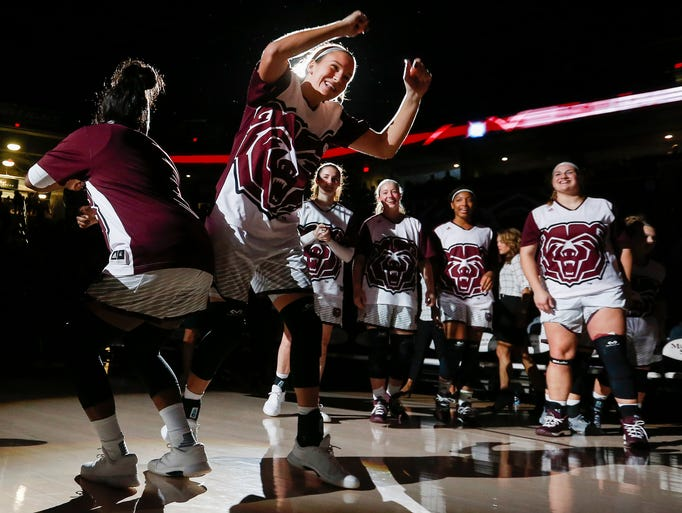 Liza Fruendt is introduced before Missouri State University's