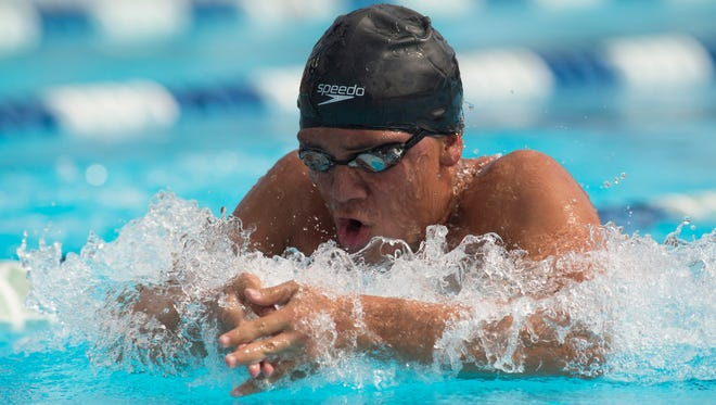 Treasure Coast's Daniel Varon swims the 100-yard breaststroke Friday, Nov. 10, 2017, during the FHSAA Class 4A state swimming and diving finals at Sailfish Splash Waterpark in Stuart. Varon took home the bronze.