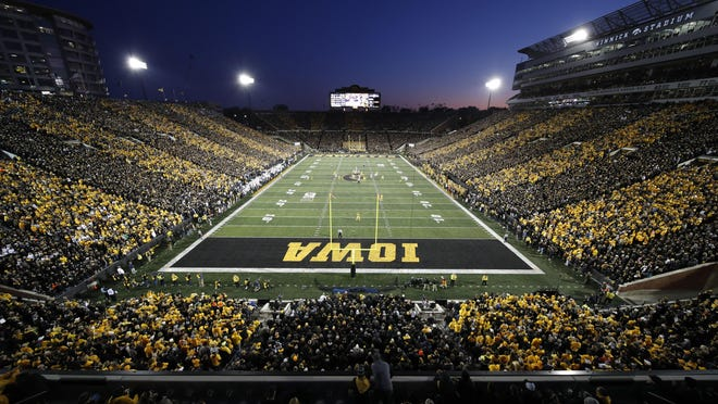 Iowa plays Penn State during the first half of an NCAA college football game Oct. 19, 2019, at Kinnick Stadium in Iowa City.