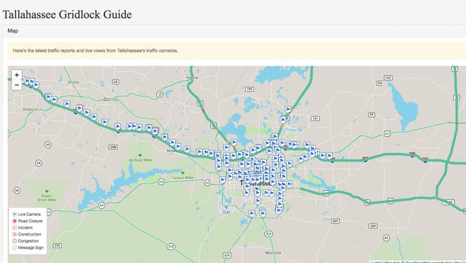 The Tallahassee Democrat's Gridlock Guide provides up-to-date traffic information through traffic cams, congestion information and updates on road closures.