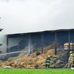 At least a dozen area fire departments responded Monday morning to a fire inside a large pole building at Valley Line Dairy, 8976 Sellen Road, about six miles northeast of Oconto Falls.