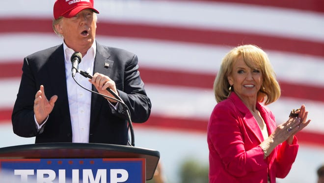Republican presidential candidate Donald Trump and former Gov. Jan Brewer in Fountain Hills on March 19, 2016.