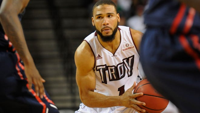 Troy's Musa Abdul-Aleem (1) against Ole Miss at Trojan Arena in Troy, Ala. on Monday November 17, 2014.