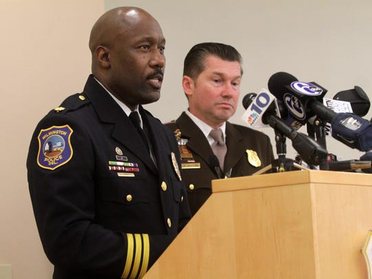 Wilmington police chief Bobby Cummings (left) and New Castle County chief Elmer Setting, discuss a joint investigation that seized heroin, other drugs and weapons in 2014.