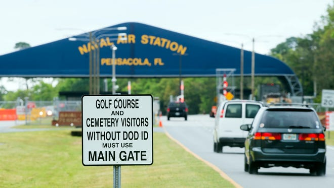 Most visitors to Pensacola Naval Air Station are required to use back gate of the military installation. However visitors to the national cemetery and the golf course are still permitted to use the front entrance.