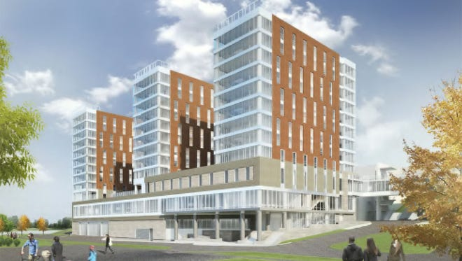 An artist's rendering shows the future University of Iowa residence hall to be built on Madison Street.