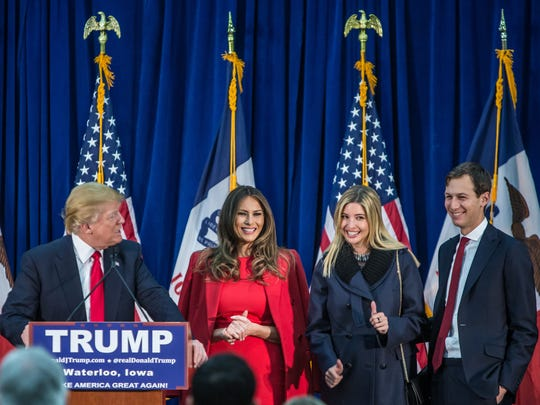 Republican presidential candidate Donald Trump is joined on stage by his wife Melania Trump, daughter Ivanka Trump, and son-in-law Jared Kushner (L-R) at a campaign rally at the Ramada Waterloo Hotel and Convention Center in Waterloo, Iowa.