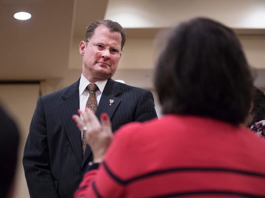Lieutenant Governor Kevin Bryant speaks with an attendee of the Greenville Chamber of Commerce's first Gubernatorial Series Lunch at the Greenville Marriott on Monday, January 29, 2018.