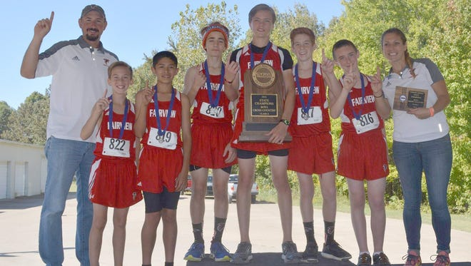 The Fairview Middle School Boys Cross Country Team scores a TMSAA State Championship title October 8, 2016.