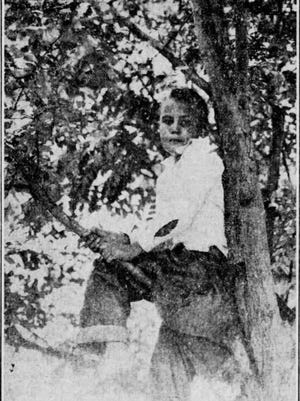 Warren Jenkins Ferlet, 9, 3301 Bisbee, introduced tree siting to El Paso. The picture was taken as he sat on his perch in a thorn tree.