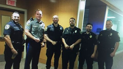 West Haven police officers at Westchester Medical Center showing support for Officer Mike Doyle