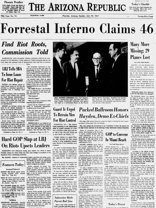 Forrestal fire front page