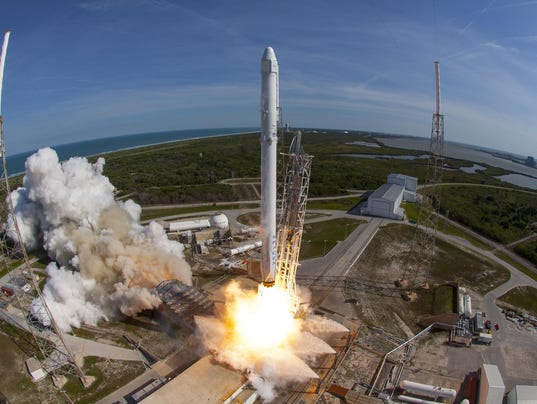 a spacex falcon 9 rocket lifts off from launch complex 40 at cape canaveral air force station for the eighth commercial resupply services mission on april 8