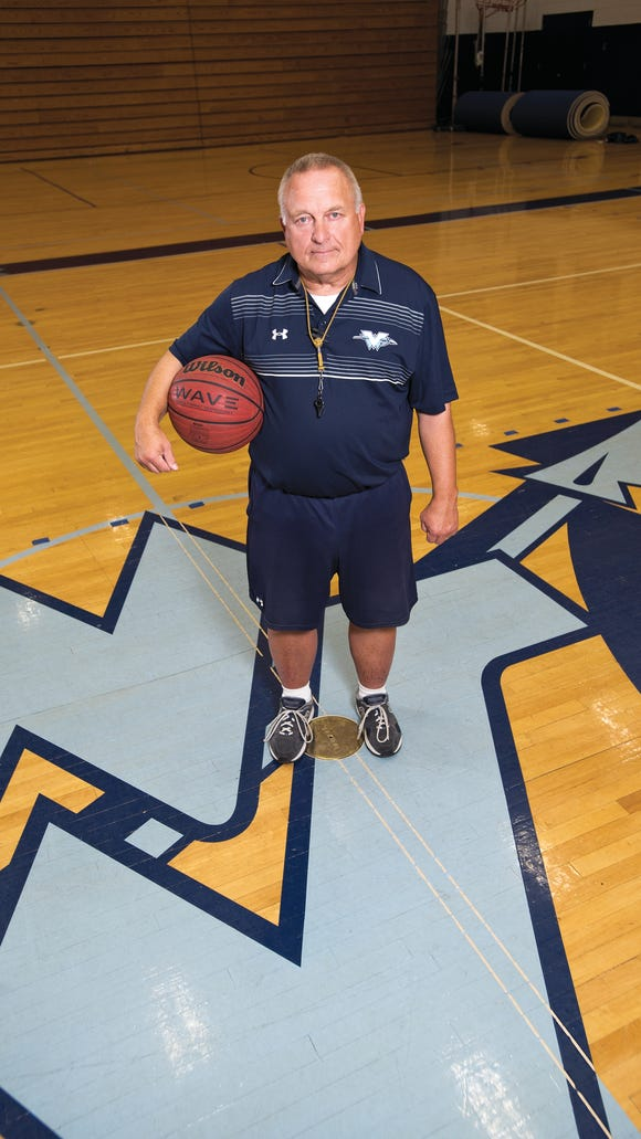 Coach Joe Leicht photographed in the Main Gym in Wayne Valley High School.  Wayne Valley boys basketball coach Joe Leicht (also the Indian Hills softball coach) is one of the top two-sport coaches in North Jersey.