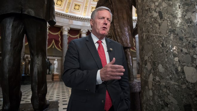 Eleventh District U.S. Rep. Mark Meadows, R-Buncombe, makes a point during an interview in the U.S. Capitol in this December photo.