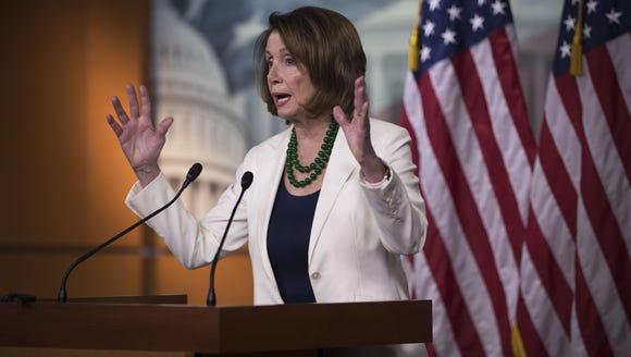House Minority Leader Nancy Pelosi, D-Calif., holds