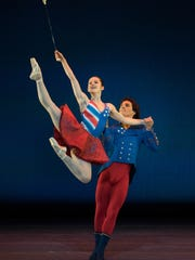 "Melissa Gelfin and Cervilio Miguel Amador perform in the world premiere of Cincinnati Ballet artistic director Victoria Morgan's ""Patriotic Pas."" The work is part of Cincinnati Ballet's season-opening ""Director's Cut"" series Sept. 16-17 at the Aronoff Center."