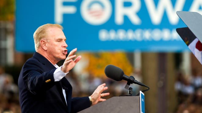 Ted Strickland, the former governor of Ohio, speaks to a crowd of 14,000 before President Barack Obama addresses Ohio University students Oct. 17, 2012, in Athens.
