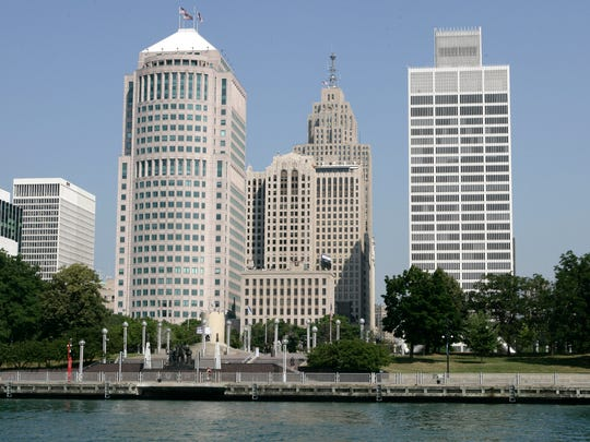 The skyscrapers, from left, 150 W. Jefferson, the Buhl building, the Penobscot and One Woodward office tower in downtown Detroit.