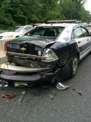 South Brunswick patrol car damaged in a Route 1 crash Friday.