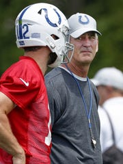 Indianapolis Colts head coach Frank Reich talks with Andrew Luck during their training camp at Grand Park in Westfield on Friday, July 27, 2018.